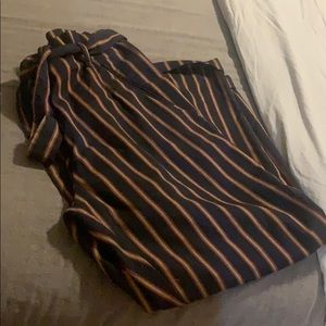 Zara trafaluc navyblue trouser w/ gold/red stripes